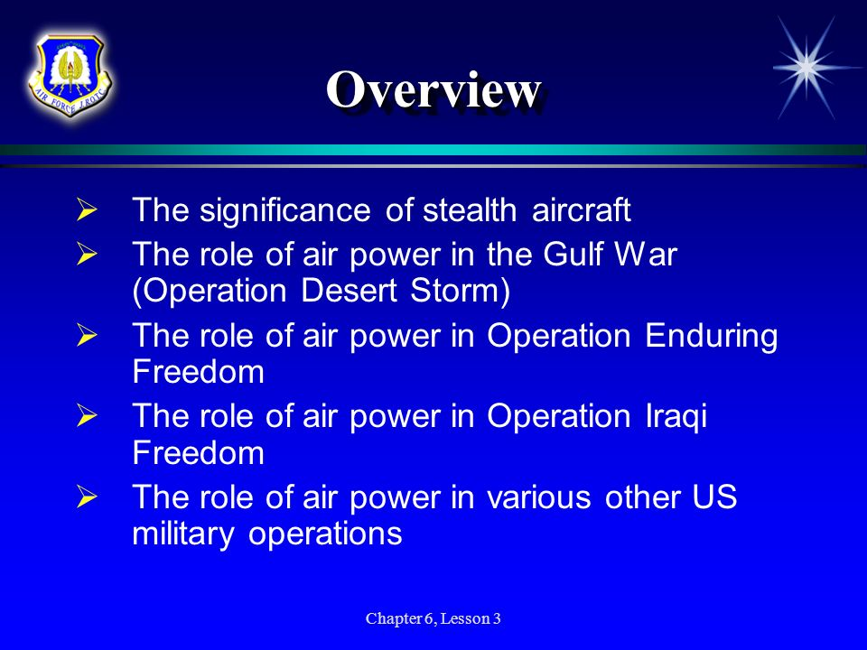 Chapter 6, Lesson 3 OverviewOverview The significance of stealth aircraft The role of air power in the Gulf War (Operation Desert Storm) The role of a