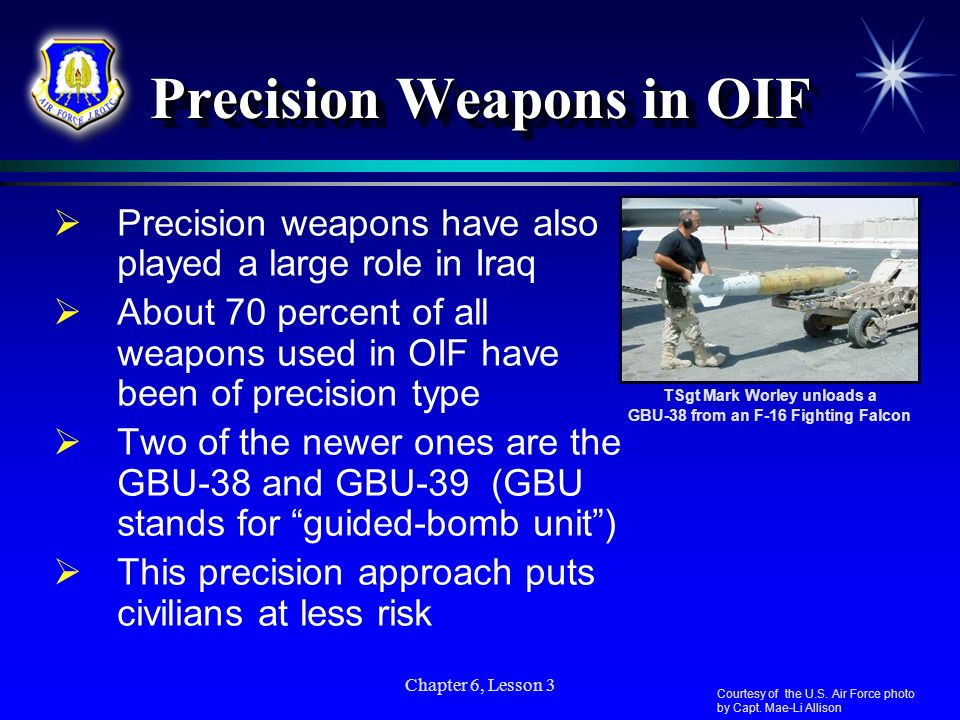 Chapter 6, Lesson 3 Precision Weapons in OIF Precision weapons have also played a large role in Iraq About 70 percent of all weapons used in OIF have