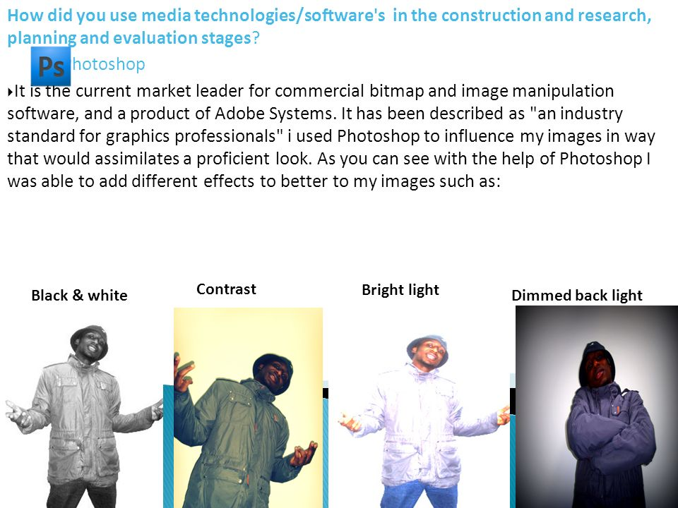 How did you use media technologies/software's in the construction and research, planning and evaluation stages? Photoshop It is the current market lea