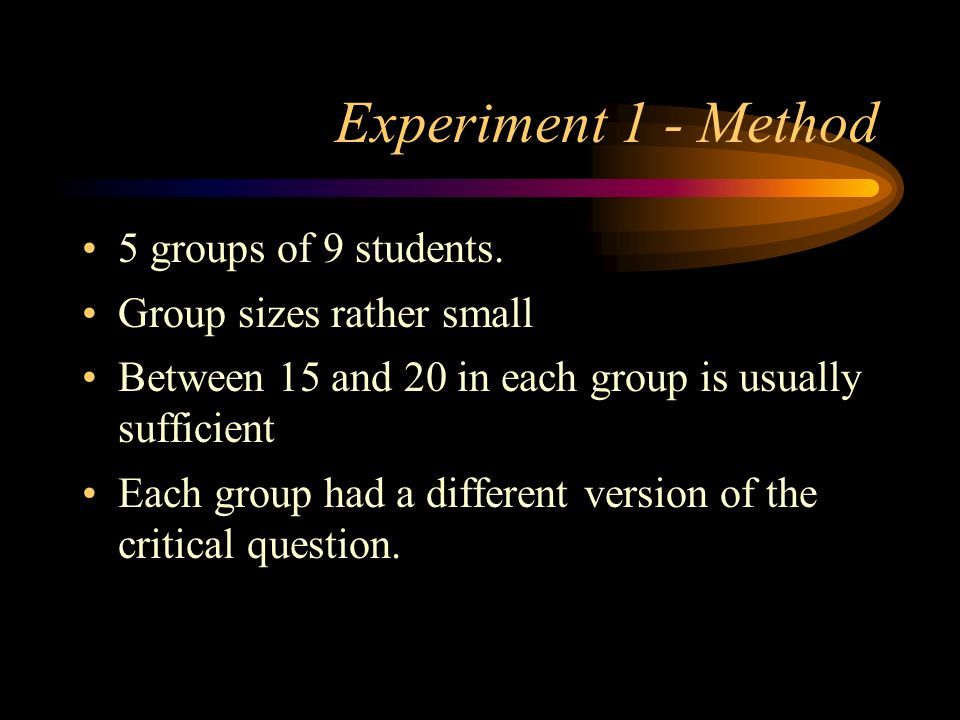 Experiment 1 - Method What was the purpose of the written account? Did this affect the results? Loftus & Palmer fail to report any details of what was