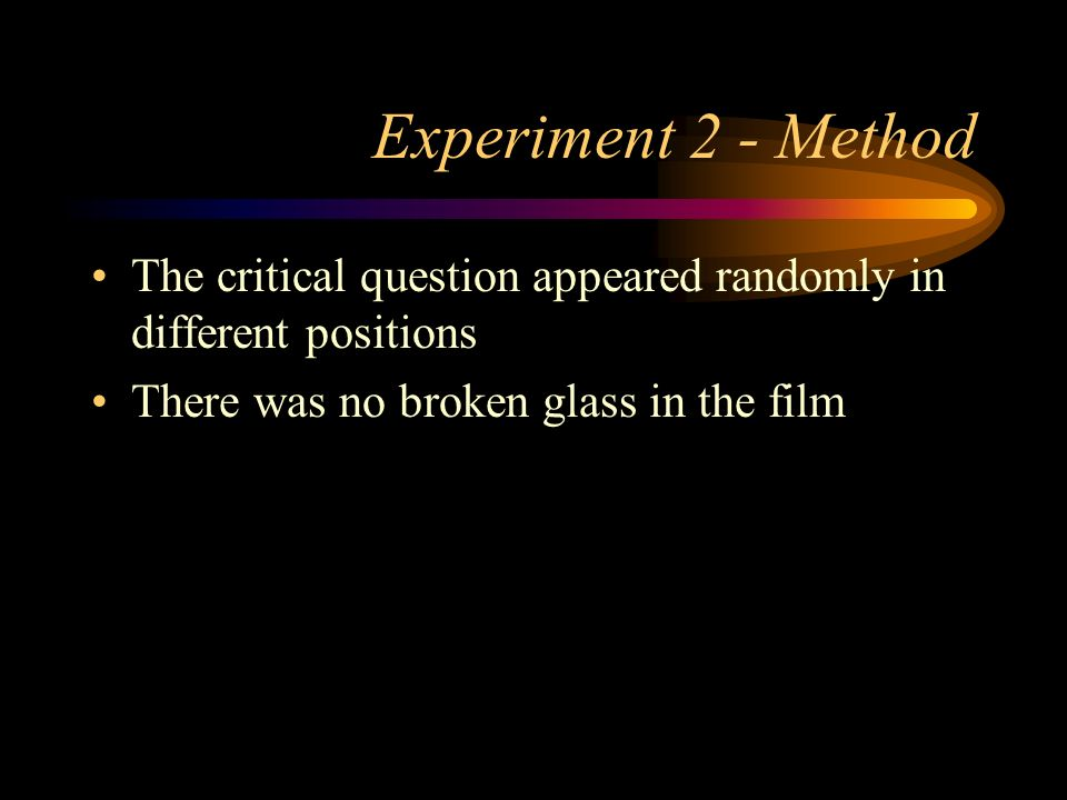 One week later The participants returned They did not see the film again They were again asked a series of ten questions about the film The critical q