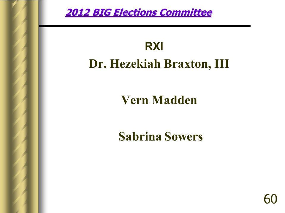 2012 BIG Elections Committee RXI Dr. Hezekiah Braxton, III Vern Madden Sabrina Sowers 60