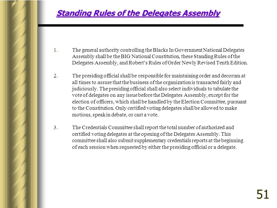 Standing Rules of the Delegates Assembly 1.The general authority controlling the Blacks In Government National Delegates Assembly shall be the BIG National Constitution, these Standing Rules of the Delegates Assembly, and Roberts Rules of Order Newly Revised Tenth Edition.