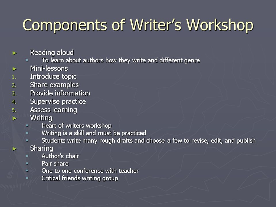 Components of Writers Workshop Reading aloud Reading aloud To learn about authors how they write and different genre To learn about authors how they w