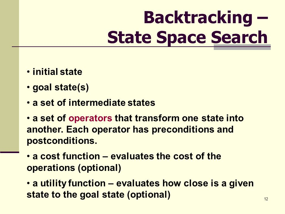 12 Backtracking – State Space Search initial state goal state(s) a set of intermediate states a set of operators that transform one state into another