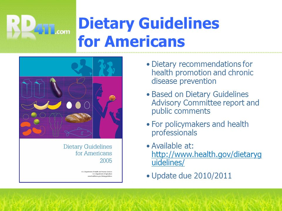 Dietary recommendations for health promotion and chronic disease prevention Based on Dietary Guidelines Advisory Committee report and public comments