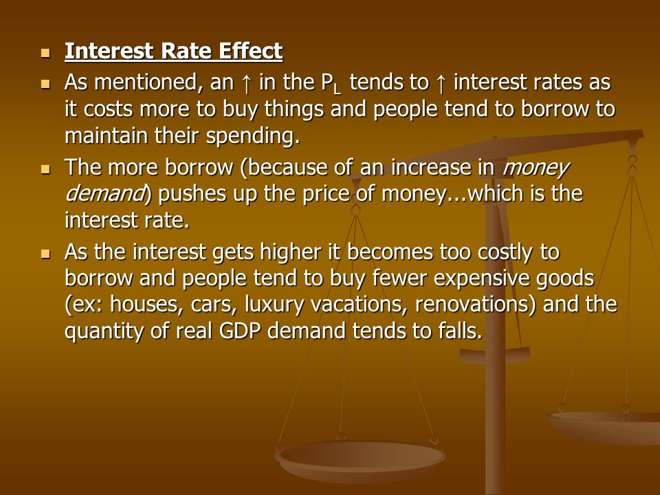 Interest Rate Effect Interest Rate Effect As mentioned, an in the P L tends to interest rates as it costs more to buy things and people tend to borrow to maintain their spending.
