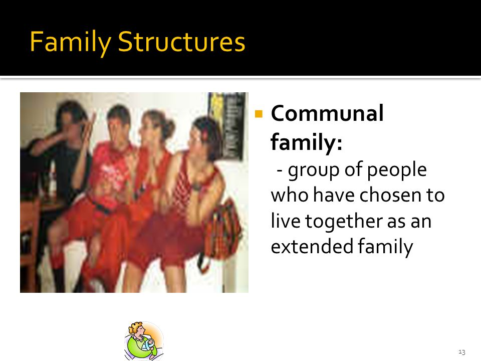 13 Family Structures Communal family: - group of people who have chosen to live together as an extended family