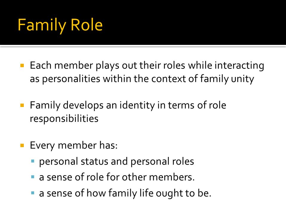 Family Role Each member plays out their roles while interacting as personalities within the context of family unity Family develops an identity in terms of role responsibilities Every member has: personal status and personal roles a sense of role for other members.
