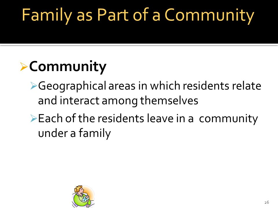 26 Family as Part of a Community Community Geographical areas in which residents relate and interact among themselves Each of the residents leave in a community under a family