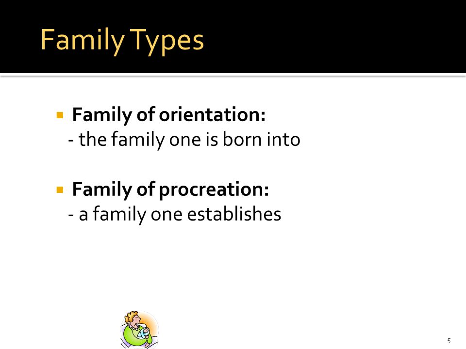 5 Family Types Family of orientation: - the family one is born into Family of procreation: - a family one establishes