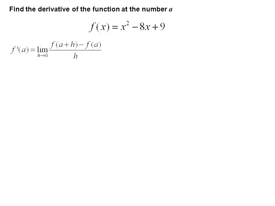 Find the derivative of the function at the number a