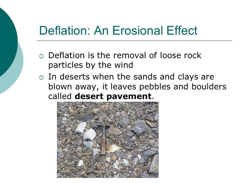Deflation: An Erosional Effect Deflation is the removal of loose rock particles by the wind In deserts when the sands and clays are blown away, it lea