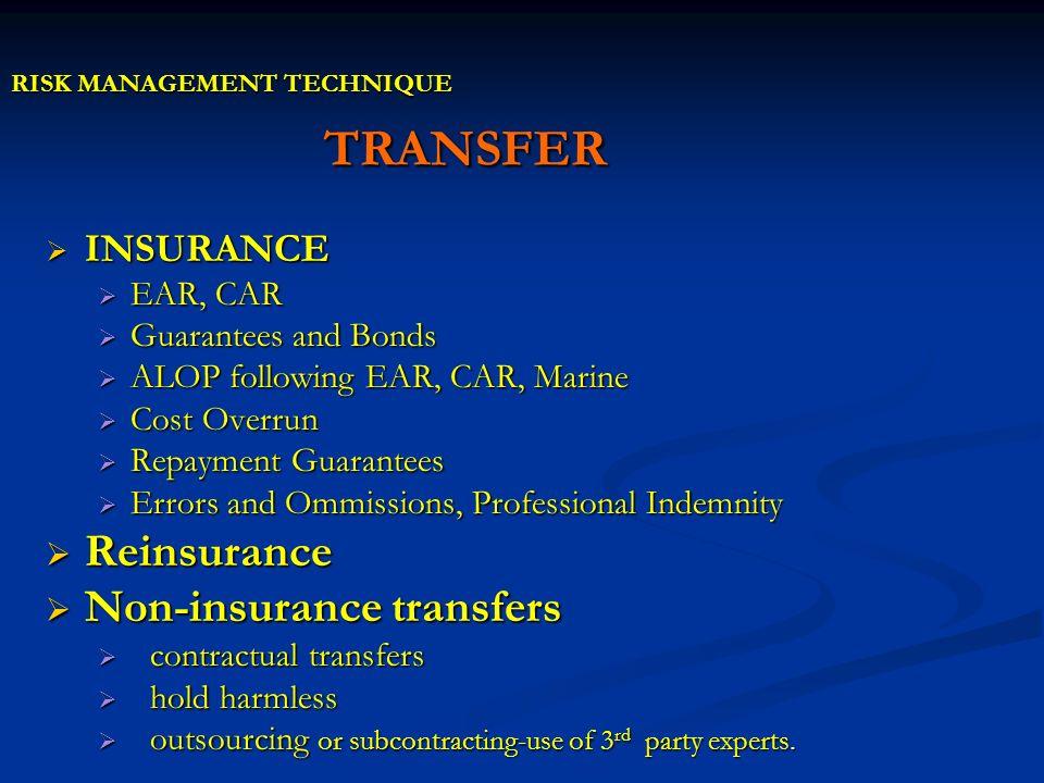RISK MANAGEMENT TECHNIQUE TRANSFER INSURANCE INSURANCE EAR, CAR EAR, CAR Guarantees and Bonds Guarantees and Bonds ALOP following EAR, CAR, Marine ALO
