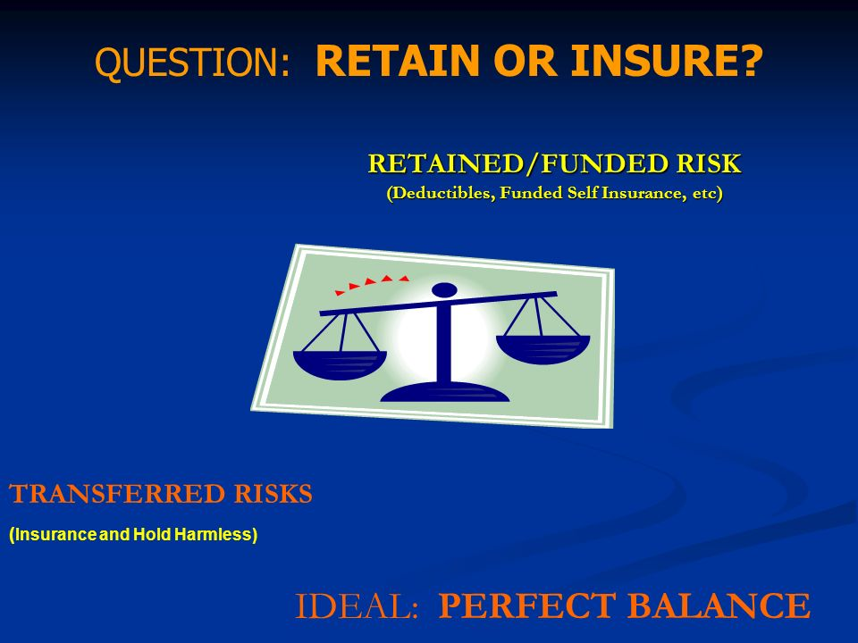 RETAINED/FUNDED RISK (Deductibles, Funded Self Insurance, etc) TRANSFERRED RISKS ( Insurance and Hold Harmless) QUESTION: RETAIN OR INSURE? IDEAL: PER