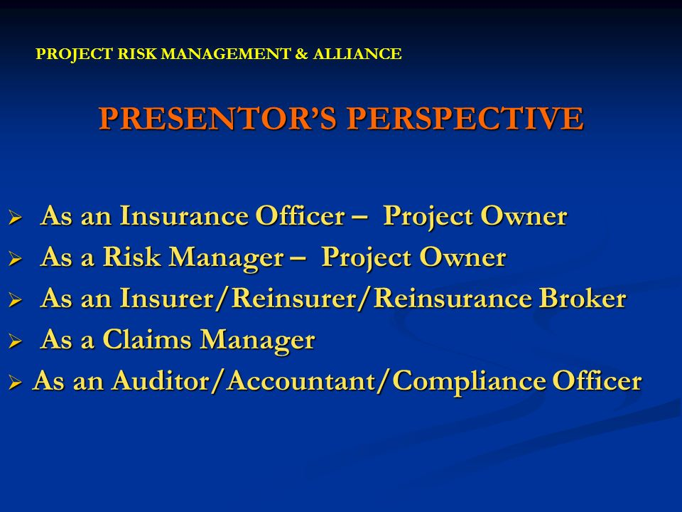 PRESENTORS PERSPECTIVE As an Insurance Officer – Project Owner As an Insurance Officer – Project Owner As a Risk Manager – Project Owner As a Risk Man