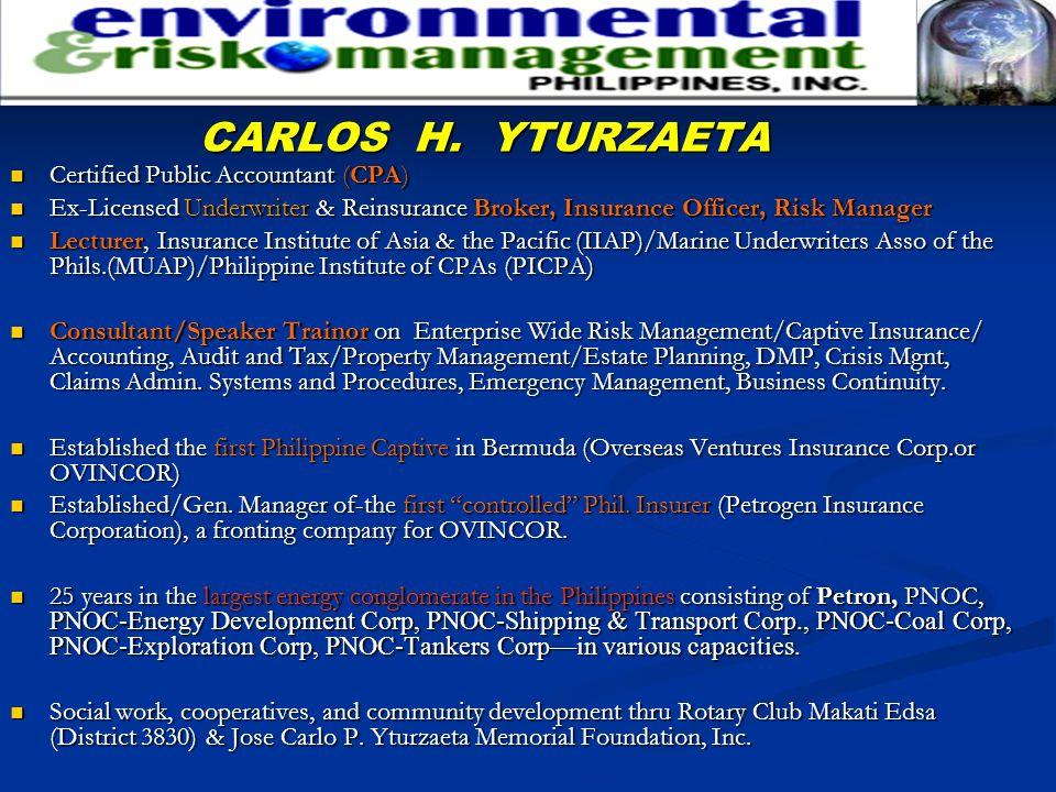 CARLOS H. YTURZAETA Certified Public Accountant (CPA) Certified Public Accountant (CPA) Ex-Licensed Underwriter & Reinsurance Broker, Insurance Office