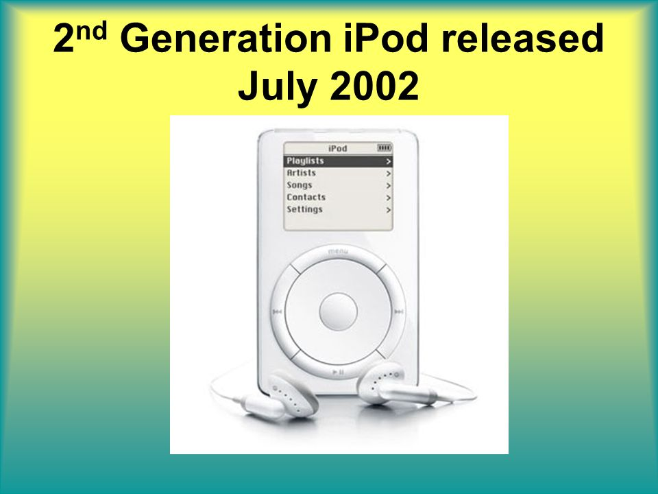 2 nd Generation iPod released July 2002