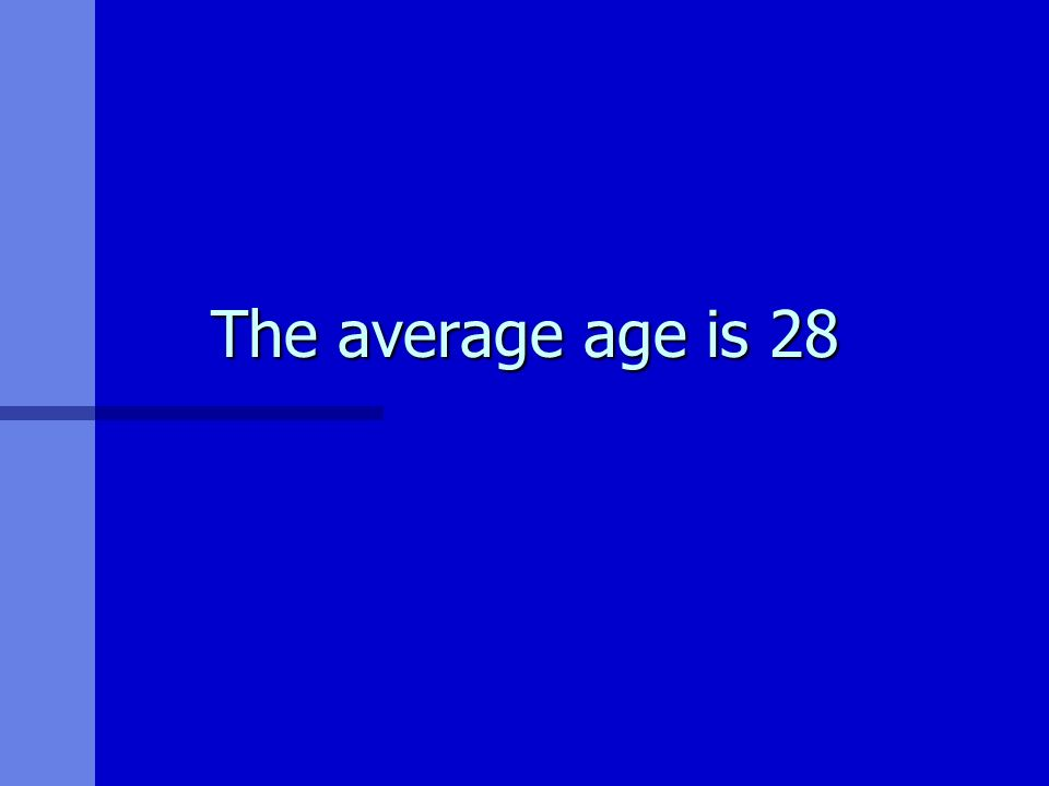 The average age is 28