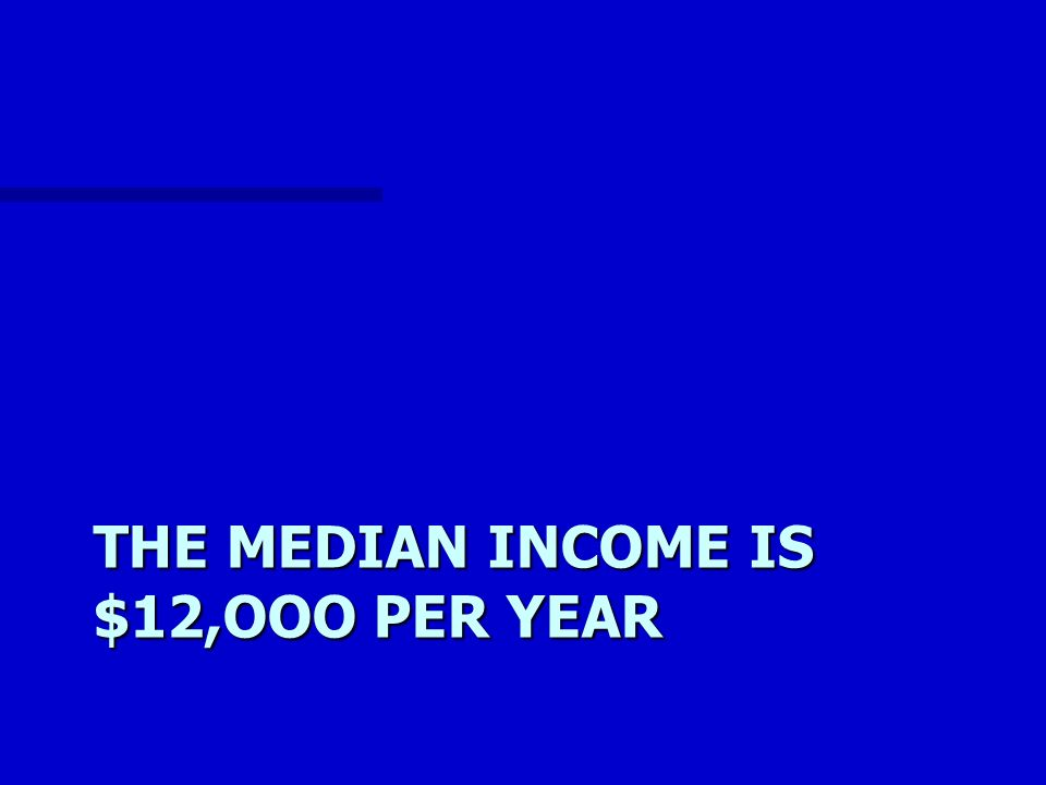 THE MEDIAN INCOME IS $12,OOO PER YEAR
