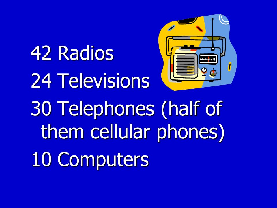 42 Radios 24 Televisions 30 Telephones (half of them cellular phones) 10 Computers