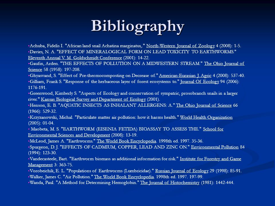 Bibliography Achuba, Fidelis I.