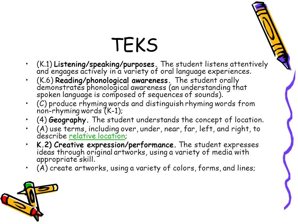 TEKS (K.1) Listening/speaking/purposes.