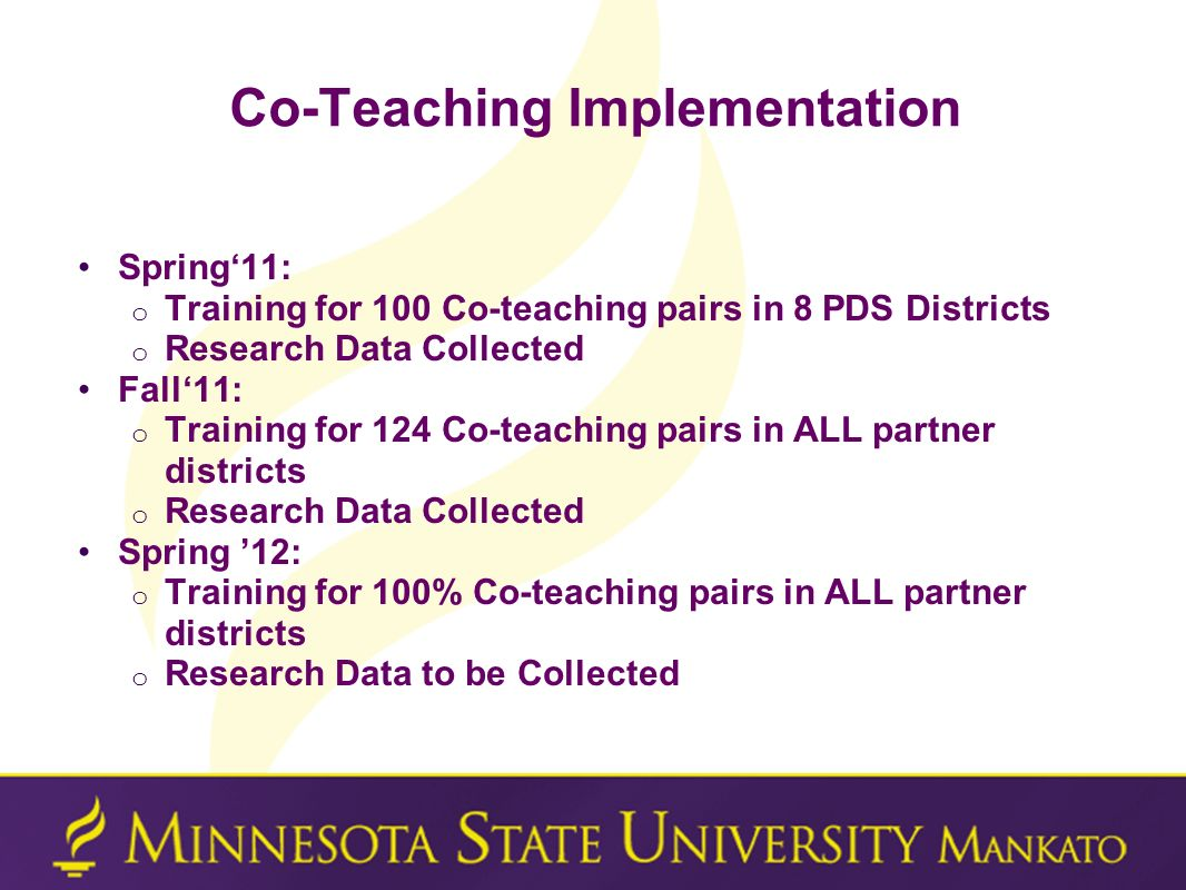 Co-Teaching Implementation Spring11: o Training for 100 Co-teaching pairs in 8 PDS Districts o Research Data Collected Fall11: o Training for 124 Co-t