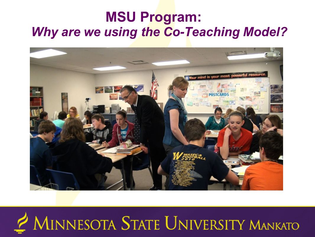 MSU Program: Why are we using the Co-Teaching Model?