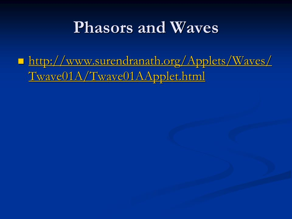 Phasors and Waves http://www.surendranath.org/Applets/Waves/ Twave01A/Twave01AApplet.html http://www.surendranath.org/Applets/Waves/ Twave01A/Twave01AApplet.html http://www.surendranath.org/Applets/Waves/ Twave01A/Twave01AApplet.html http://www.surendranath.org/Applets/Waves/ Twave01A/Twave01AApplet.html
