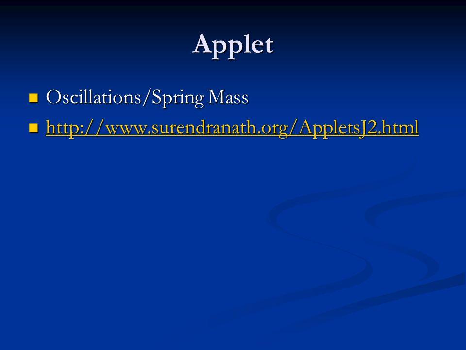 Applet Oscillations/Spring Mass Oscillations/Spring Mass http://www.surendranath.org/AppletsJ2.html http://www.surendranath.org/AppletsJ2.html http://www.surendranath.org/AppletsJ2.html