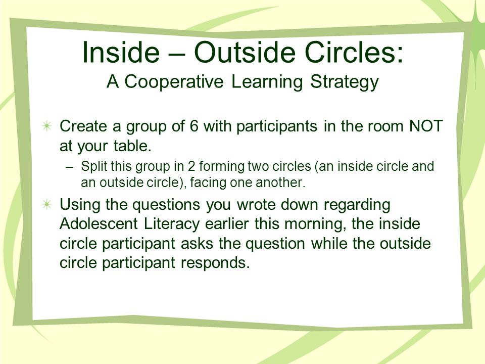 Inside – Outside Circles: A Cooperative Learning Strategy Create a group of 6 with participants in the room NOT at your table. –Split this group in 2