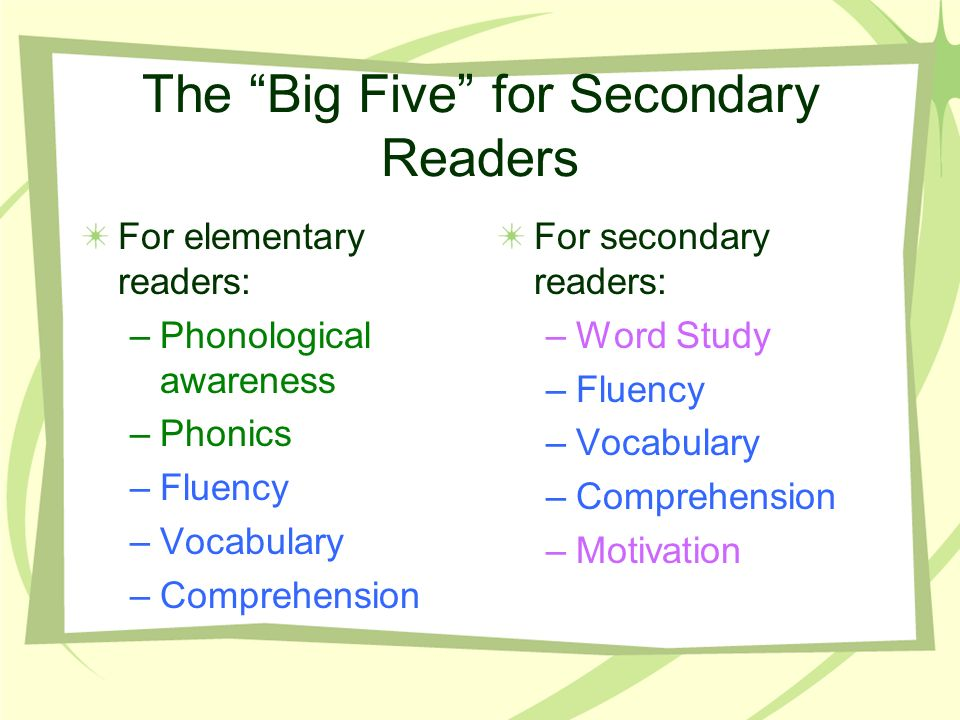 The Big Five for Secondary Readers For elementary readers: –Phonological awareness –Phonics –Fluency –Vocabulary –Comprehension For secondary readers: –Word Study –Fluency –Vocabulary –Comprehension –Motivation
