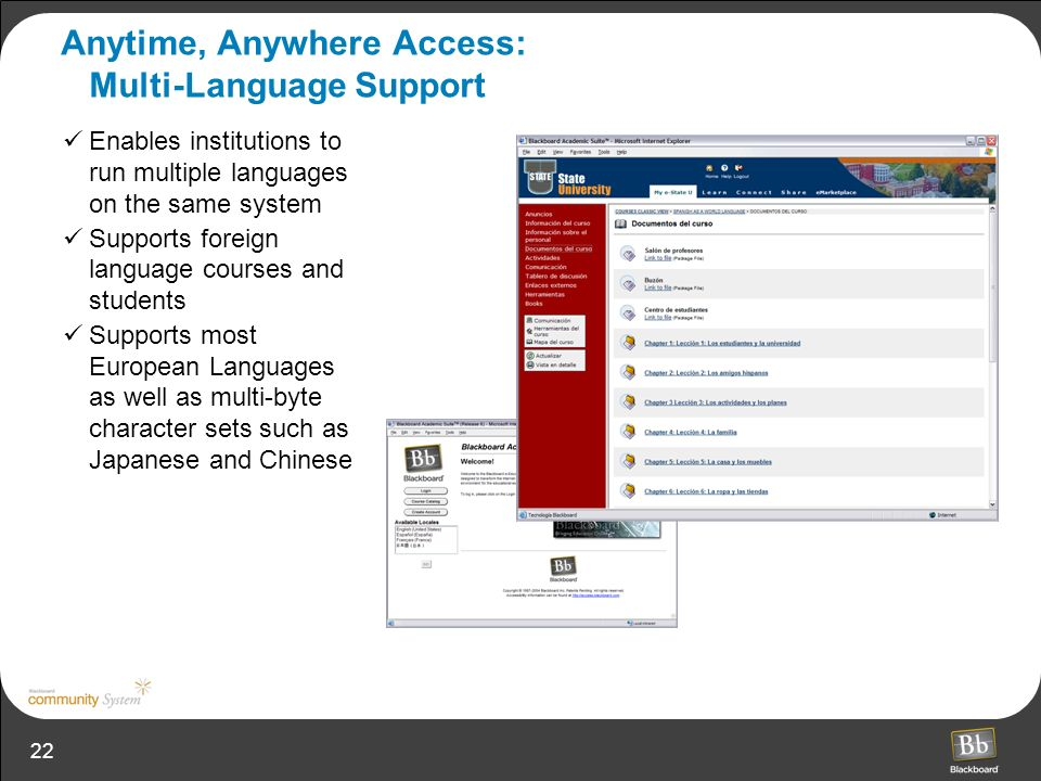 22 Anytime, Anywhere Access: Multi-Language Support Enables institutions to run multiple languages on the same system Supports foreign language course