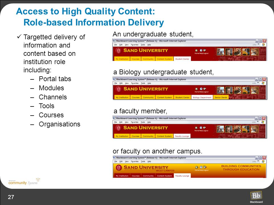 27 Access to High Quality Content: Role-based Information Delivery An undergraduate student, a faculty member, or faculty on another campus. a Biology