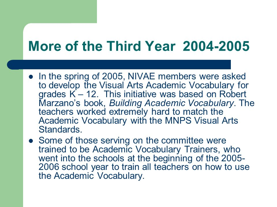 More of the Third Year In the spring of 2005, NIVAE members were asked to develop the Visual Arts Academic Vocabulary for grades K – 12.