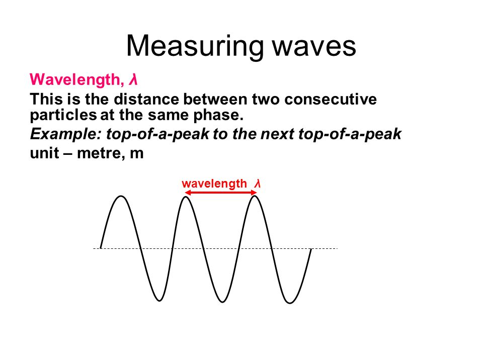Measuring waves Wavelength, λ This is the distance between two consecutive particles at the same phase. Example: top-of-a-peak to the next top-of-a-pe