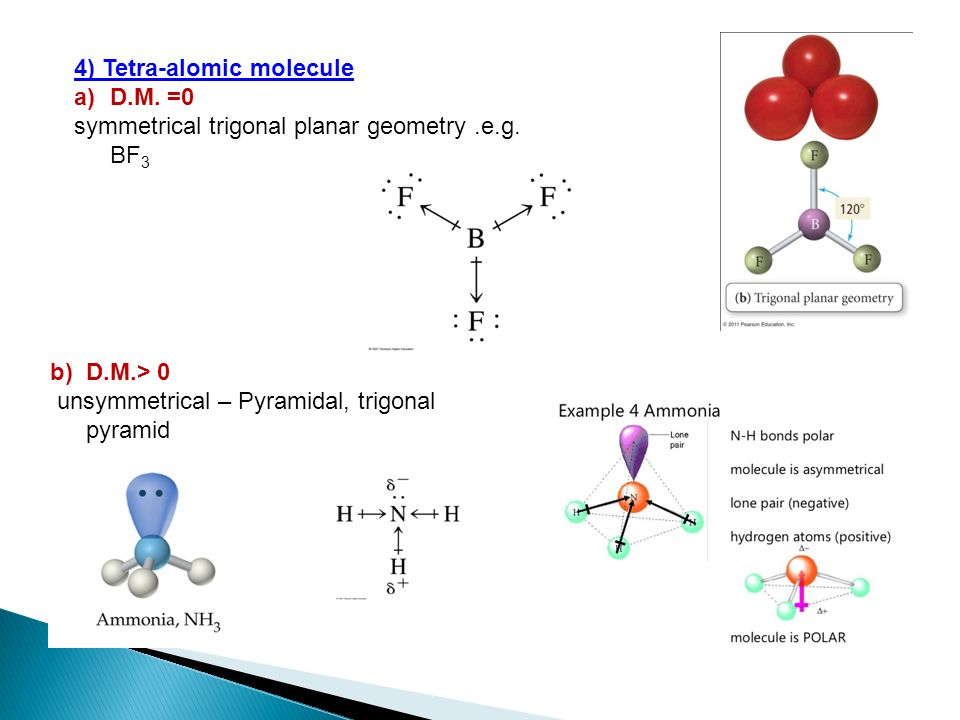 4) Tetra-alomic molecule a)D.M. =0 symmetrical trigonal planar geometry.e.g. BF 3 b)D.M.> 0 unsymmetrical – Pyramidal, trigonal pyramid