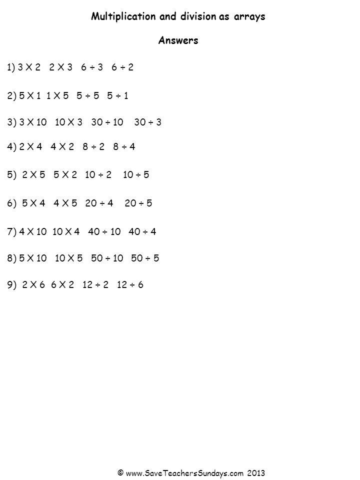 1) 2) 4) 5) 7) 6) 3) 8) Multiplication and division as arrays Use each array to write 2 multiplication and 2 division sentences © www.SaveTeachersSundays.com 2013