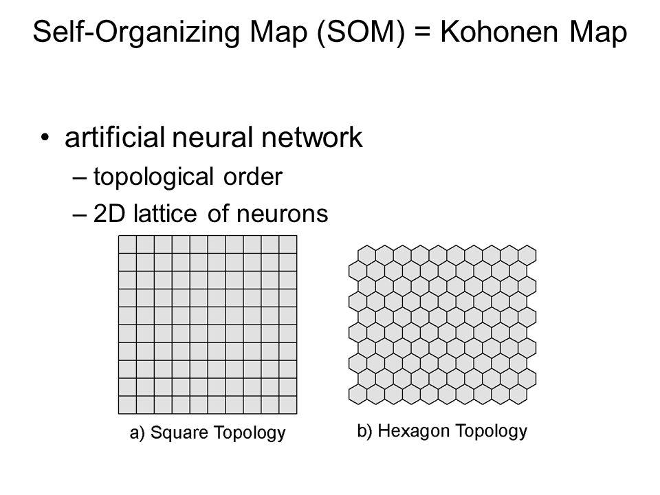 Self-Organizing Map (SOM) = Kohonen Map artificial neural network –topological order –2D lattice of neurons