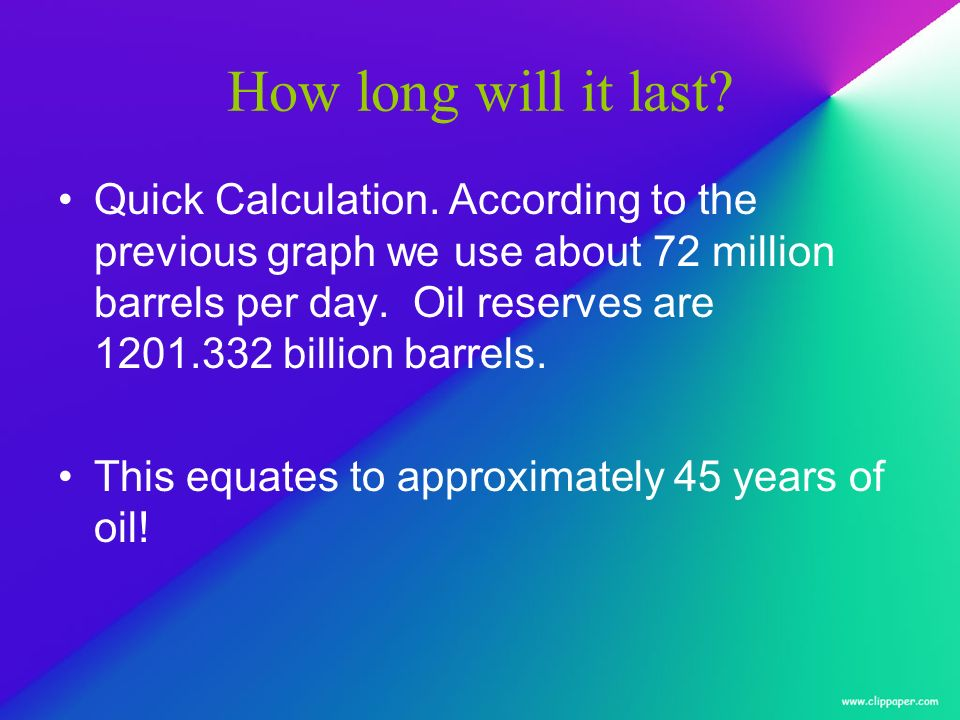 How long will it last? Quick Calculation. According to the previous graph we use about 72 million barrels per day. Oil reserves are 1201.332 billion b