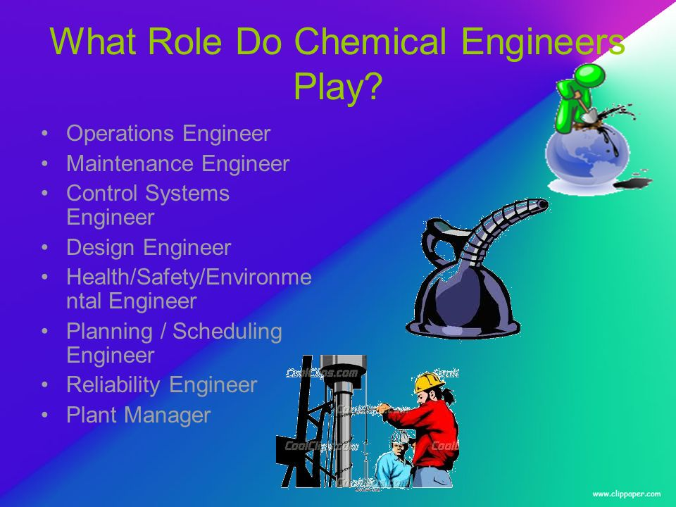 What Role Do Chemical Engineers Play? Operations Engineer Maintenance Engineer Control Systems Engineer Design Engineer Health/Safety/Environme ntal E