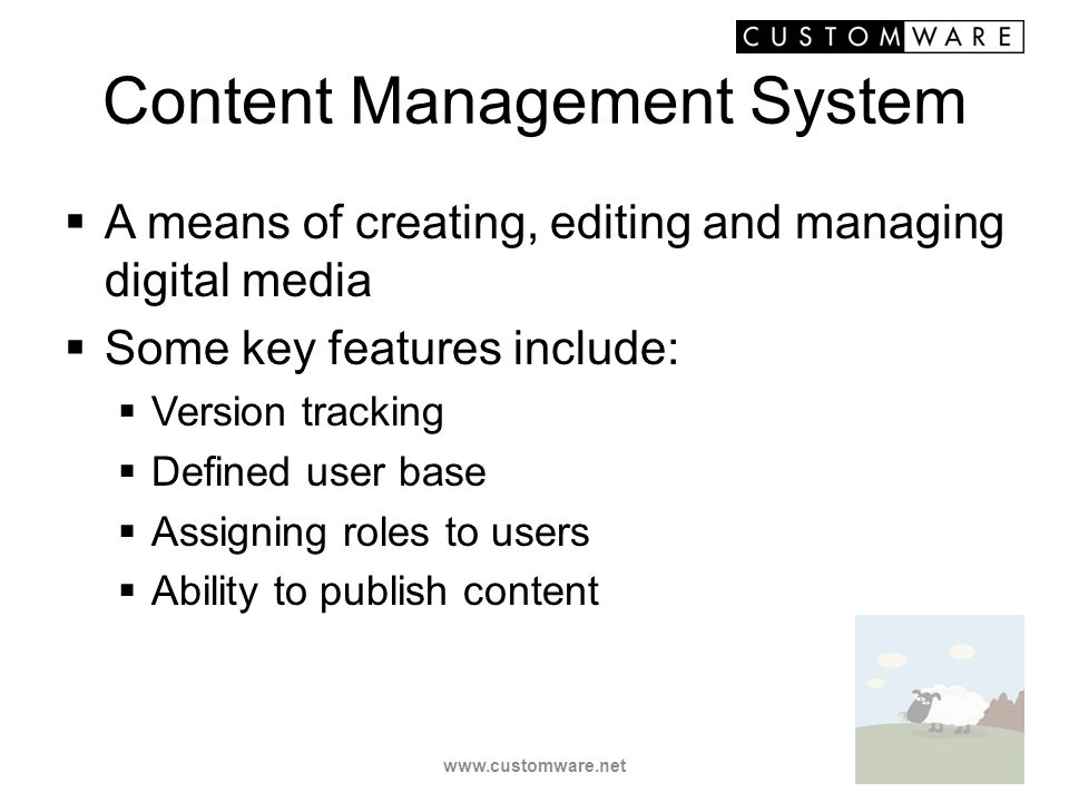 Content Management System A means of creating, editing and managing digital media Some key features include: Version tracking Defined user base Assign