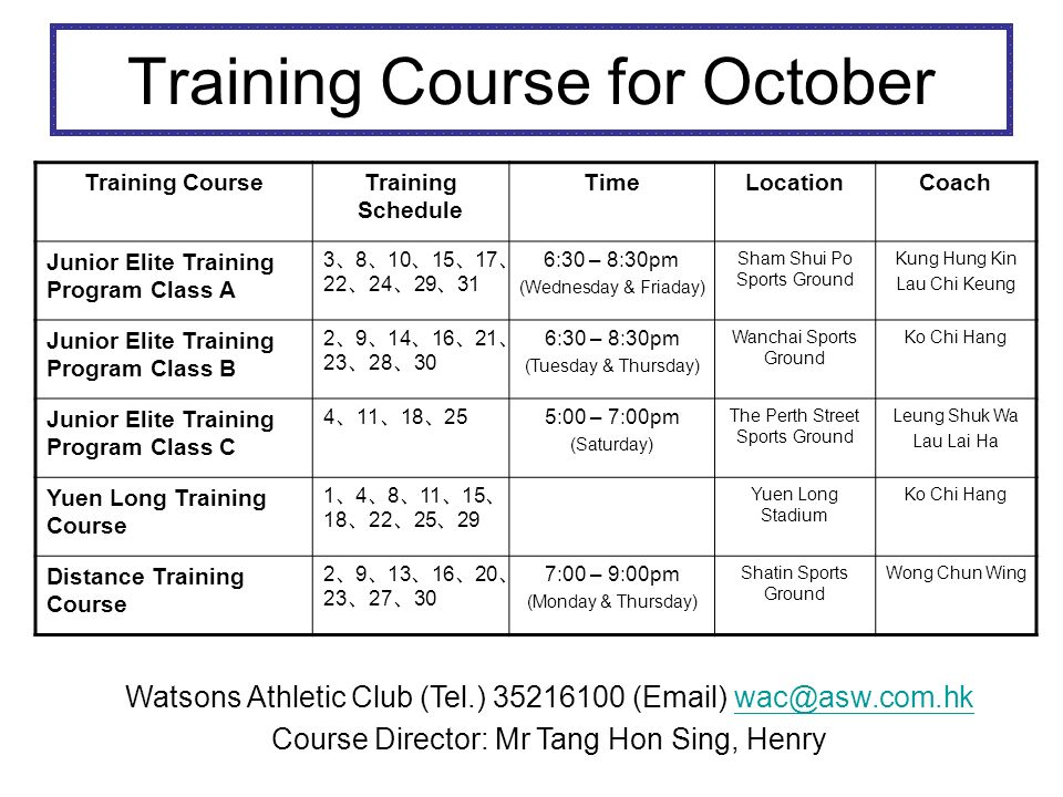 Training Course for November Training CourseTraining Schedule TimeLocationCoach Junior Elite Training Program Class A 5 7 12 14 19 21 26 28 6:30 – 8:30pm (Wednesday & Friaday) Sham Shui Po Sports Ground Kung Hung Kin Lau Chi Keung Junior Elite Training Program Class B 4 6 11 13 18 20 25 27 6:30 – 8:30pm (Tuesday & Thursday) Wanchai Sports Ground Ko Chi Hang Junior Elite Training Program Class C 1 8 15 22 29 (Cancelled) 5:00 – 7:00pm (Saturday) The Perth Street Sports Ground Leung Shuk Wa Lau Lai Ha Yuen Long Training Course 1 5 8 12 15 19 22 26 29 Yuen Long Stadium Ko Chi Hang Distance Training Course 3 6 10 13 17 20 24 27 7:00 – 9:00pm (Monday & Thursday) Shatin Sports Ground Wong Chun Wing Watsons Athletic Club (Tel.) 35216100 (Email) wac@asw.com.hkwac@asw.com.hk Course Director: Mr Tang Hon Sing, Henry