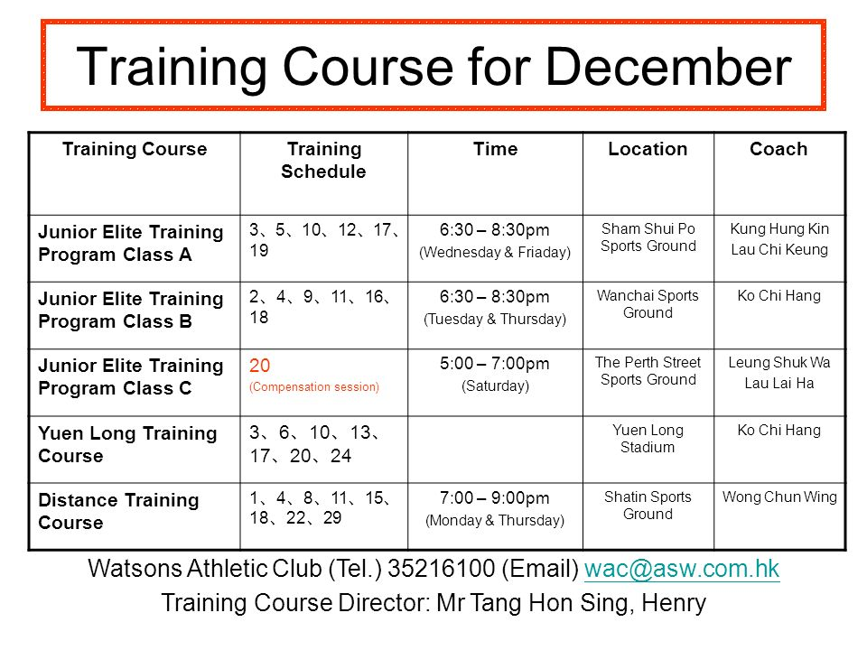 Training Course for December Training CourseTraining Schedule TimeLocationCoach Junior Elite Training Program Class A 3 5 10 12 17 19 6:30 – 8:30pm (Wednesday & Friaday) Sham Shui Po Sports Ground Kung Hung Kin Lau Chi Keung Junior Elite Training Program Class B 2 4 9 11 16 18 6:30 – 8:30pm (Tuesday & Thursday) Wanchai Sports Ground Ko Chi Hang Junior Elite Training Program Class C 20 (Compensation session) 5:00 – 7:00pm (Saturday) The Perth Street Sports Ground Leung Shuk Wa Lau Lai Ha Yuen Long Training Course 3 6 10 13 17 20 24 Yuen Long Stadium Ko Chi Hang Distance Training Course 1 4 8 11 15 18 22 29 7:00 – 9:00pm (Monday & Thursday) Shatin Sports Ground Wong Chun Wing Watsons Athletic Club (Tel.) 35216100 (Email) wac@asw.com.hkwac@asw.com.hk Training Course Director: Mr Tang Hon Sing, Henry
