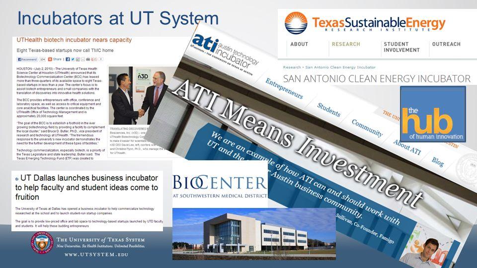Incubators at UT System 31
