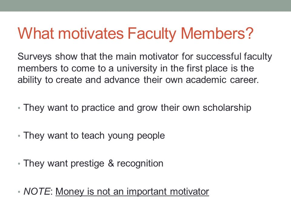 What motivates Faculty Members.