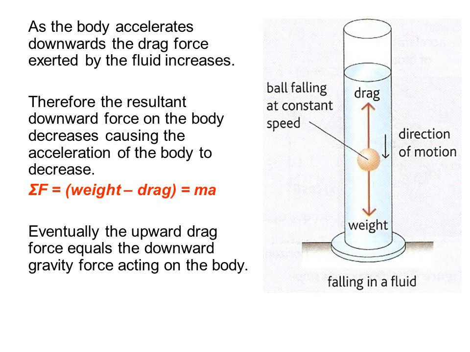 As the body accelerates downwards the drag force exerted by the fluid increases. Therefore the resultant downward force on the body decreases causing