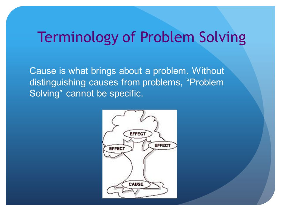 Terminology of Problem Solving Cause is what brings about a problem.