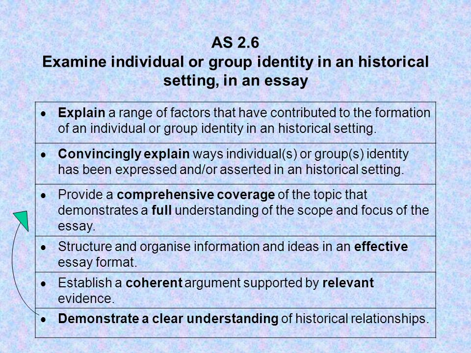 AS 2.6 Examine individual or group identity in an historical setting, in an essay Explain a range of factors that have contributed to the formation of an individual or group identity in an historical setting.